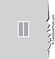 casa, finestra, lato, crepa