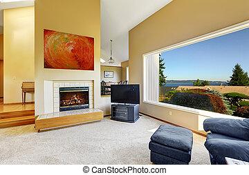 casa, finestra, lusso, scenico, vista interna