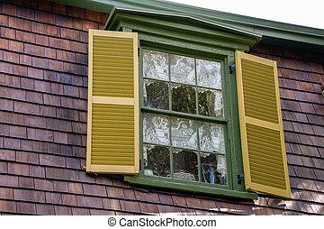 casa, finestra, oro, otturatori