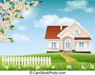 casa, florescer, árvore, colina