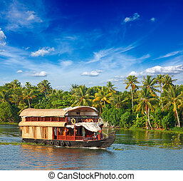 casa flotante, en, kerala, backwaters, india