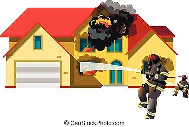 casa, fogo, com, bombeiro