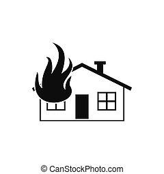 casa, fogo, pretas, simples, ícone