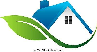 casa, folha, logotipo