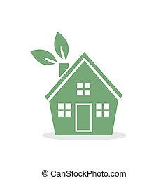 casa, folhas, verde