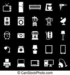 casa, fondo negro, iconos