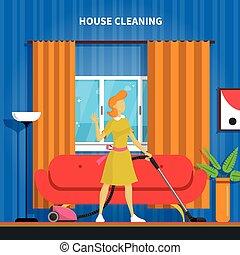 casa, fondo, pulizia, illustrazione