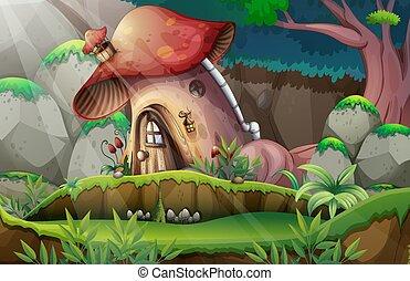 casa, foresta, fungo