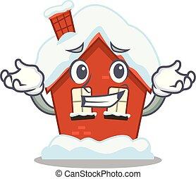casa, forma, el hacer muecas, caricatura, invierno