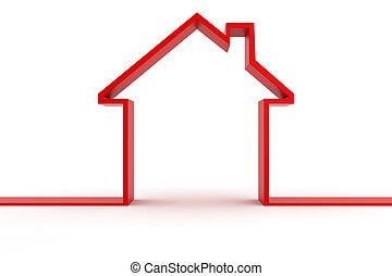 casa, forma, metáfora, 3d