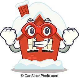 casa, forma, súper, caricatura, héroe, invierno