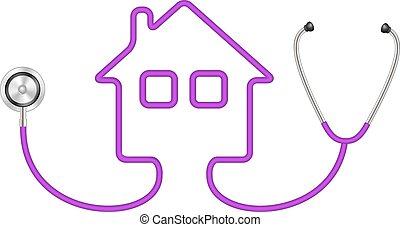 casa, forma, stetoscopio