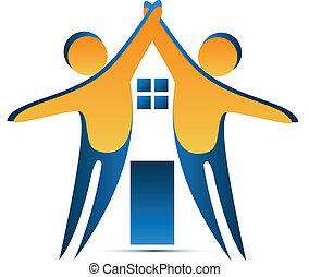 casa, forma, trabalho equipe, logotipo