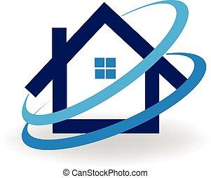 casa, frío, aire acondicionado, logotipo