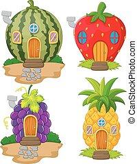 casa, frutta, cartone animato, varietà