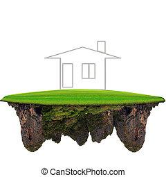casa, galleggiante, terra