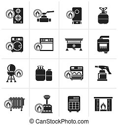 casa, gas, aparatos, iconos