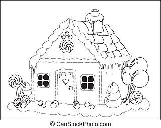 casa, gingerbread, página, coloração