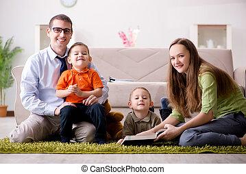 casa, gioco, stanza, famiglia, giovane