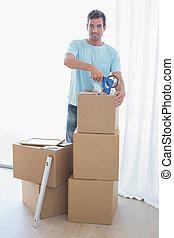 casa, giovane, scatole, nuovo, cartone, uomo