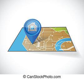 casa, gps, disegno, illustrazione, mappa
