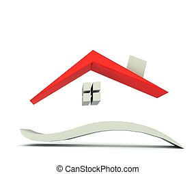 casa, gráfico, rojo, techo, logotipo