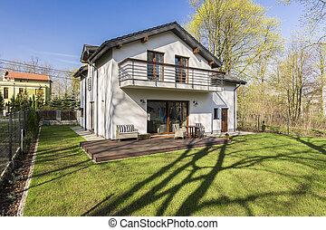 casa, grande, jardim, storey, um