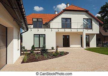 casa, grande, outbuilding