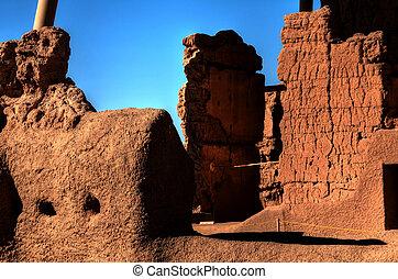Casa Grande Ruins - Casa Grande National Monument ruin walls...
