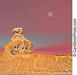 Casa Grande Ruins Moon - Moon over Casa Grande Ruins...