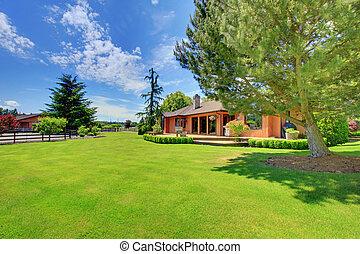 casa granja, caballo, verde, landcape