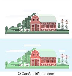 casa granja, conjunto, paisaje