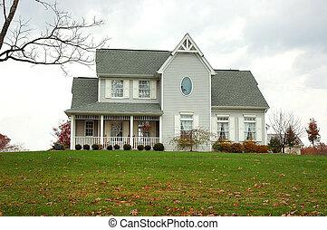 casa granja, en, otoño
