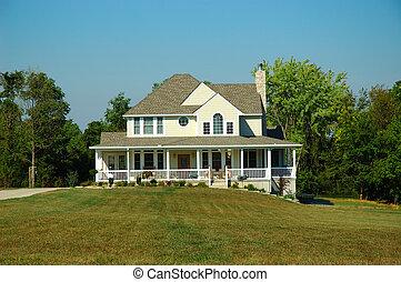 casa granja, en, verano