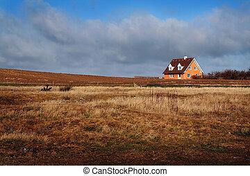casa granja, hogar, dinamarca