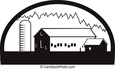 casa granja, negro, blanco, granero, silo