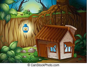 casa granja, noche
