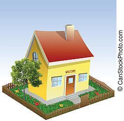 casa, grass., vettore, iarda, albero
