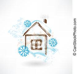 casa, grunge, snowflakes, ícone