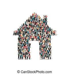casa, grupo, forma, pessoas