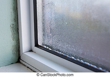 casa, húmedo, condensación, ventana