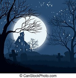 casa, halloween, fondo