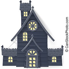 casa, halloween, frequentato, stile, cartone animato, papercraft