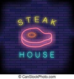 casa, hamburguesa, neón, colorido, señal