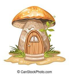 casa, hecho, gnomo, hongo