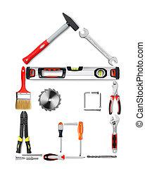 casa, hecho, herramientas