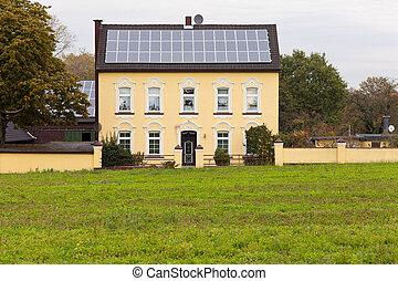 casa, histórico, solar, telhado, painéis