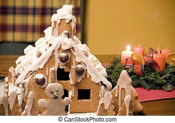 casa, hogar, pan de jengibre