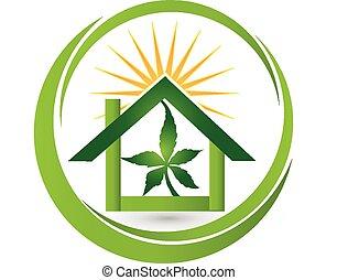 casa, hoja, planta de cannabis, logotipo