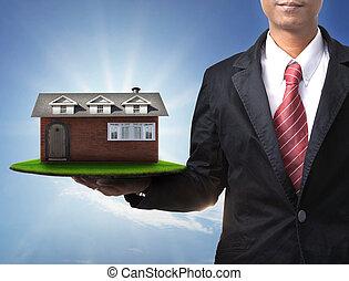 casa, hombre, nueva corporación mercantil, mano